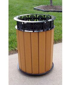 """20 Gallon Jamestown Recycled Plastic Trash Receptacle. 45 lbs. Made with seventeen 1"""" x 4"""" recycled plastic slats. Powder coated steel structure. Custom designed, decorative circles on top of receptacle. Includes a UV protectant. Metal liner included. Also available in 12 gallon size."""