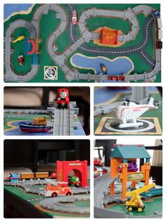 """Did not see something like this on Pinterest. DIY Thomas the Train Take-n-Play coffee table-top """"train table."""" Painted piece of plywood with felt one the bottom. Foldable playsets are removable and the additional track pieces are glued in place."""