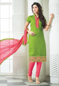 Classy Parrot Green & Pink Churidar Salwar Suit Dress Material-2010