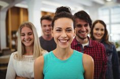 Close-up of business executives in office Free Photo