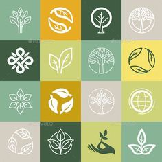 Buy Organic Symbols by venimo on GraphicRiver. Vector set or organic signs and logo design elements – eco and bio emblems. Organic Logo, Organic Brand, Organic Modern, Logo Biologique, Logo Branding, Branding Design, Gfx Design, Tea Logo, Fleur Design