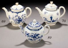 1758 A Worcester blue and white globular teapot and cover with flower finial, printed with the 'Mansfield' pattern of flowers below diaper-pattern panel and scroll borders, blue crescent mark, circa 1758 (restoration to cover and damages) -- 15cm. high Christies lot69