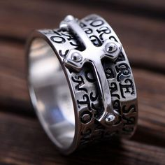 Have you ever gifted your boyfriend the stunning 925 Sterling Silver Cross Band Ring? Search for range of cross band rings. Mens Silver Jewelry, Silver Jewellery Indian, Clean Gold Jewelry, Mens Silver Rings, Silver Man, Gold Jewellery, Jewelry Rings, Cross Jewelry, Diamond Jewelry