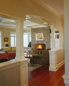 Rock Perch is a stunning example of large scale residential design with local materials and energy-saving features by John Morris Architects. Home Renovation, Home Remodeling, Interior Columns, Craftsman Interior, Merian, Half Walls, Living Room Kitchen, Living Rooms, Large Homes