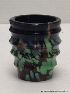 Oggettistica d`epoca - Vetri - Bottiglia da rosolio d`epoca con avventurina Antica bottiglia in pasta vitrea e avventurina - Immagine n°8