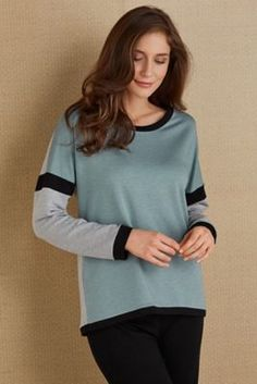 Cyan Colorblock Top from Soft Surroundings