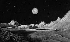 lucien rudaux sur les autres mondes– Google Поиск Moon Wallpaper, Moon Surface, Cosmic Art, The Adventure Zone, Moon Photography, Space Time, Matte Painting, French Artists, Ciel