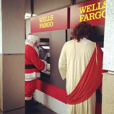 Santa & Jesus at the ATM