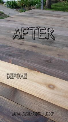 diy holz DIY reclaimed or salvaged wood. This bargain diy project is easy to do if you cant find inexpensive reclaimed wood. This shows the before and after it was stained. Wood Projects That Sell, Reclaimed Wood Projects, Diy Pallet Projects, Repurposed Wood, Wooden Projects, Recycled Wood, Easy Projects, Wood Crafts, Project Ideas