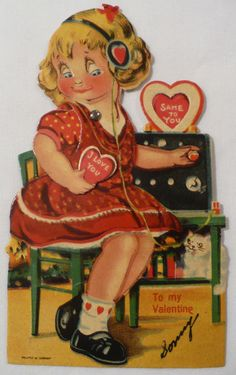 Telephone operator - mechanical valentine, probably made in Germany. Her eyes would move back and forth.