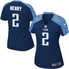 Women's Nike Titans #2 Derrick Henry Navy Blue Alternate Stitched NFL Elite Jersey