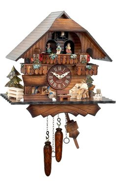 """Battery-operated Cuckoo Clock - Full Size - 13""""H x 12.25""""W x 8""""D"""