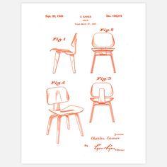 Eames Plywood Chair Orange art, orange, digital print