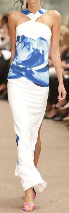 Carla Zampatti ~  Spring Blue + White Floral Maxi Dress, 2015 Australia