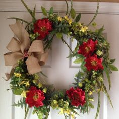spring and summer grapevine wreath with by angiespictureframes, $55.00