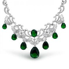 Bling Jewelry Emerald Color CZ Teardrop Vintage Estate Bridal Necklace 16in  #BlingJewelry, #Fashion, #Jewelry, #JewelryNecklaces