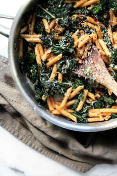 Sauteed Kale Penne with Toasted Walnuts & Fresh Parmesan.