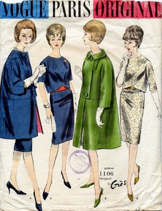 1960s Two Piece Dress and Coat Pattern Designer by BessieAndMaive