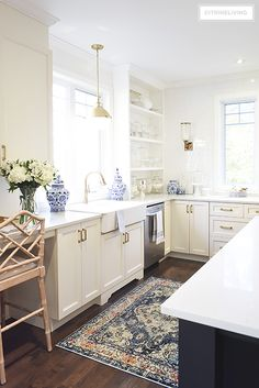 New kitchen lighting and barstools + a vintage style rug add character and tailored elegance to our kitchen, it's a chic and sophisticated mix! Kitchen Rug, Home Decor Kitchen, Rustic Kitchen, Kitchen Furniture, New Kitchen, Vintage Kitchen, Kitchen Ideas, Kitchen Mixer, Kitchen Sinks