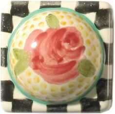 Mackenzie Childs Petit Four Square Rose Majolica Decorative Knob Decorative Knobs, Decorative Accessories, Shabby Chic Decor, Rustic Decor, Mackenzie Childs Inspired, Gadgets, Plate Design, Knobs And Pulls, Drawer Pulls