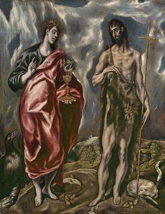 Saint Jean le Baptiste et Jean l'évangéliste (1600-1610, Museo Nacional del Prado, Madrid) d'El Greco
