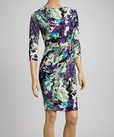 Look what I found on #zulily! Mint & Violet Abstract Ruched Sheath Dress #zulilyfinds