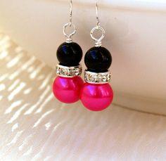 Black Hot Pink Bridesmaid Jewelry Earrings Hot by LaurinWedding, $9.50