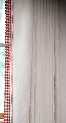 Lovely gingham edge could be achieved with store bought neutral color curtains and add gingham or pain to edge, could even ruffle it.