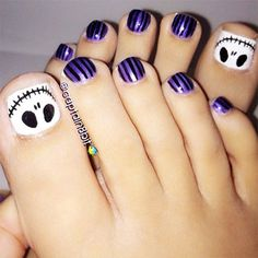 """skeleton on toe nails Awesome Halloween Toe Nail Art Designs For Horror Junkies!""--Christmas toe nail art for Tim Burton fans Simple Toe Nails, Pretty Toe Nails, Cute Toe Nails, Pretty Toes, Toe Nail Art, My Nails, Striping Tape Nail Art, Halloween Toe Nails, Halloween Makeup"