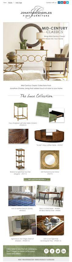 Mid-Century Classics: Bring Mid-Century Classic Style into Your Home. #jcfurniture #jonathancharles #Furniture #InteriorDesign #decorex #luxe #hpmkt #luxe