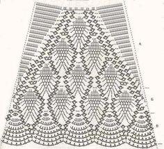 Картинки по запросу длинная юбка крючком схемы