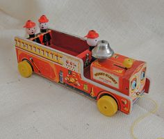 Vintage 1954 Fisher Price Wood Winky Blinky Fire Truck Pull Toy