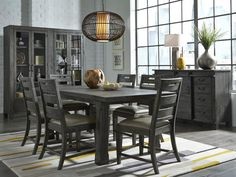 Abington by Magnussen D3804 Weathered Charcoal Dining Set