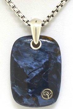David Yurman Men's 35mm Pietersite Stone Tablet Pendant Necklace  Nwt $725 - http://designerjewelrygalleria.com/david-yurman/david-yurman-mens-35mm-pietersite-stone-tablet-pendant-necklace-nwt-725/