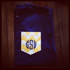 GSU monogrammed chevron tee  Georgia Southern ~ Go Eagles!  http://www.facebook.com/#!/megandlilyshoes
