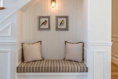 Morrison B   White Traditional Staircase Bench Seat   Chervin Kitchen & Bath in Waterloo, Muskoka and Oakville Custom Range Hood, White Staircase, Cozy Basement, Traditional Staircase, Basement Inspiration, Bench Seat, Kitchen And Bath, Your Space, Gallery Wall