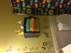 Used a basket as a DIY shelf in Baby James' bathroom. So easy and different! :)