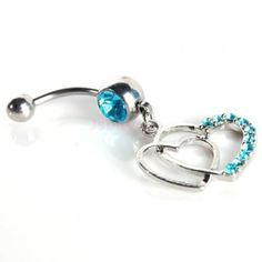 Sexy CZ Double HEART Belly Button Navel Ring Dangle Piercing Jewelry Gem Bars #