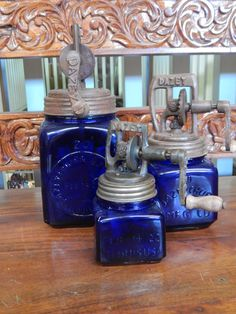 Dazey 3 Piece Churn Set Cobalt Blue Glass. If you are looking for an eye catching vintage conversation piece, you've found one. The great 3 piece churn set is sure to get everyone talking in the kitch