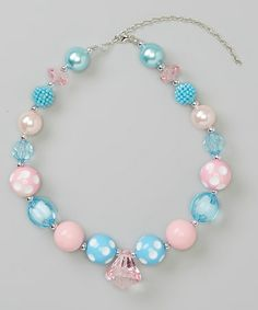 Look at this #zulilyfind! Aqua & Pink Chunky Beaded Necklace #zulilyfinds