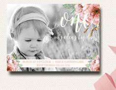 Girls Photo Birthday Invitation.  Floral Invitation.  Floral Birthday.  First Birthday.