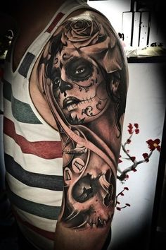 Gorgeous Day of the Dead Tattoo by Martin Binczewski. It's not really for me but I do love it, a lot! <3