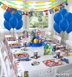 """Your little gamer will love celebrating going up another """"level"""" with a Super Mario birthday party. Cups, plates, favors, balloons, banners—we've got enough party supplies to fill Princess Peach's Castle!"""