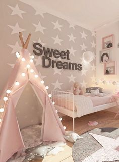 Baby Girl Nursery Room İdeas 696791373573842263 - Kinderzimmer-Madchen-Rose-Kindertapete-Sterntapete-Room-For-Kids Source by piarissler Baby Bedroom, Baby Room Decor, Nursery Room, Girl Nursery, Bed Room, Cute Bedroom Ideas, Girl Bedroom Designs, Fantasy Bedroom, Kids Room Wallpaper
