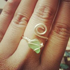 wire wrapped sea glass ring.