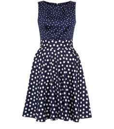 Closet Navy Polka Dot Tie Back Skater Dress