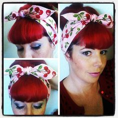 Cherries on Pink one sided WIDE Headwrap Bandana Hair Bow Tie 1950s Vintage Style - Rockabilly - Pin Up - For Women, Teens