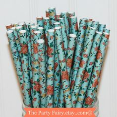 Hey, I found this really awesome Etsy listing at https://www.etsy.com/listing/216404365/paper-straws-25-blue-calico-flowers