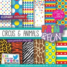 #madagascar3 #afrocircus #madagascar #circusparty #animalprint #carnival #digitalpaper #invitations #partyplanner #events Animal & Circus Digital Paper Animals Tiger Lion por Printnfun