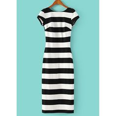 Striped Backless Scoop Collar Short Sleeve Slimming Fashionable Women's Dress, STRIPE, M in Dresses 2014 | DressLily.com